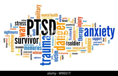 PTSD - post traumatic stress disorder. Mental health issue. Word cloud sign.