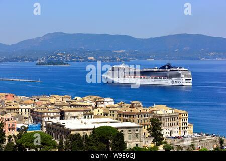 Cruise Ship, MSC Magnifica,heading for the Port of Corfu,in the ionian sea,ionian islands, Greece - Stock Photo