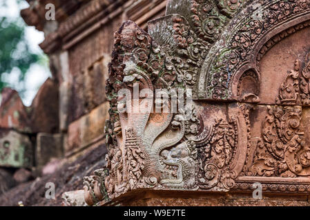 Stone carvings at Prasat Banteay Srei temple ruins, UNESCO World Heritage Site, Siem Reap Province, Cambodia