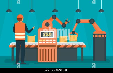 Factory assembly line concept background. Flat illustration of factory assembly line vector concept background for web design - Stock Photo