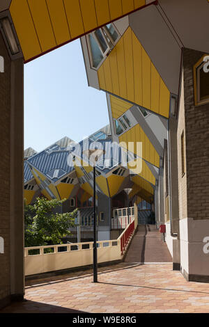Rotterdam, Holland - July 30, 2019: Innovative cube houses in Rotterdam designed by architect Piet Blom - Stock Photo