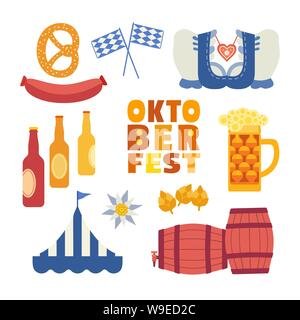 Oktoberfest hand drawn flat color vector icons set - Stock Photo