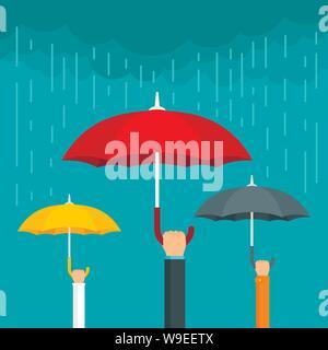 Umbrella concept background. Flat illustration of umbrella vector concept background for web design