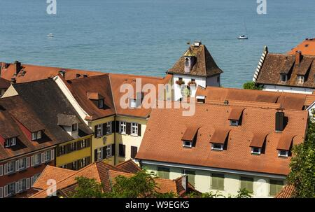 A 'Roof Story' in the South German city of Meersburg - Stock Photo