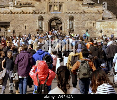 Edinburgh, Scotland, UK. 13th Aug, 2019. Edinburgh Fringe Festival was voted today as the number one attraction in the uk it saw performers enjoy the change in weather to take to the royal mile to promote their show and for street performers to entertain on their stage of the street. crowds flock to the castle Credit: gerard ferry/Alamy Live News - Stock Photo