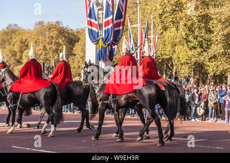 The Queen's Life Guard in The Mall, London. - Stock Photo