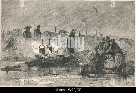 """Antique 1873 engraving, """"Camp Life"""" showing Union soldiers of the American Civil War in the rain. SOURCE: ORIGINAL ENGRAVING - Stock Photo"""