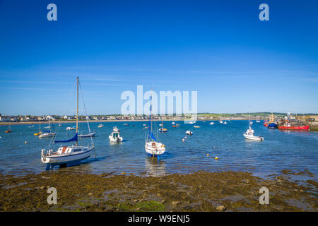 boats in a small harbour in Skerries, Co Dublin, Ireland - Stock Photo