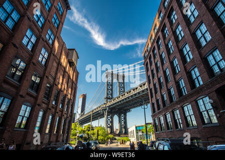 Pillar of Manhattan Bridge seen from Brooklyn, USA - Stock Photo