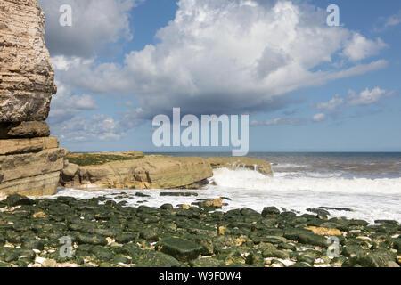 The rocky shore at Thornwick Nab near Flamborough Head on the East Yorkshire coast - Stock Photo