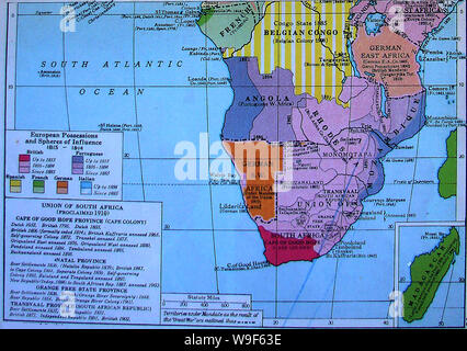 A 1922 colour map showing a timeline of European possessions  and spheres of influence in Africa - Stock Photo