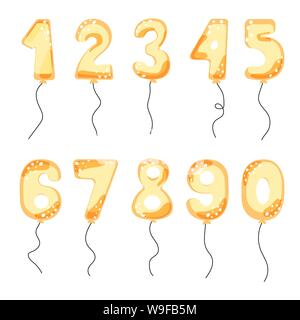 Gold cartoon balloon numbers for birthday party cards. Event celebration invitation card vector set. Anniversary balloons on white. - Stock Photo