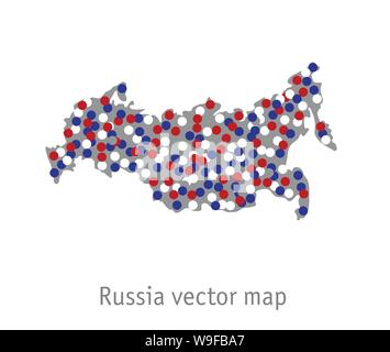 Russia map blue red white gray isolate object - Stock Photo