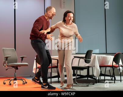 Edinburgh, Scotland, UK. 13th Aug, 2019. Preview at Edinburgh International Festival of Oedipus, a revelatory updating of Sophocles' tragedy, is a chilling thriller, told in real time. British director Robert Icke joins one of Europe's most lauded theatre companies for a revelatory updating of Sophocles' tragedy. Internationaal Theater Amsterdam (formerly Toneelgroep Amsterdam) is one of Europe's most consistently exciting ensembles, led by director Ivo van Hove. Hans Kesting (Oedipus) and Marieke Heebink (Jocaste) Credit; Credit: Iain Masterton/Alamy Live News - Stock Photo