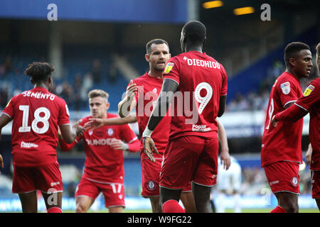 London, UK. 13th Aug, 2019. Famara Didhiou of Bristol City celebrates after scoring his team's first goal during Carabao cup, EFL Cup 1st round match, Queens Park Rangers v Bristol City at The Kiyan Prince Foundation Stadium, Loftus Road in London on Tuesday 13th August 2019. this image may only be used for Editorial purposes. Editorial use only, license required for commercial use. No use in betting, games or a single club/league/player publications. pic by Tom Smeeth/Andrew Orchard sports photography/Alamy Live news Credit: Andrew Orchard sports photography/Alamy Live News - Stock Photo