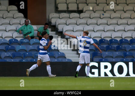 London, UK. 13th Aug, 2019. Ilias Chair of Queens Park Rangers (l) celebrates after scoring his team's second goal during Carabao cup, EFL Cup 1st round match, Queens Park Rangers v Bristol City at The Kiyan Prince Foundation Stadium, Loftus Road in London on Tuesday 13th August 2019. this image may only be used for Editorial purposes. Editorial use only, license required for commercial use. No use in betting, games or a single club/league/player publications. pic by Tom Smeeth/Andrew Orchard sports photography/Alamy Live news Credit: Andrew Orchard sports photography/Alamy Live News - Stock Photo