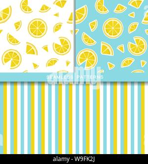 Set of vector seamless patterns with lemon slices. Endless texture. Wrapping paper, packaging, fabric print. Cover for planner, notebook. Striped - Stock Photo