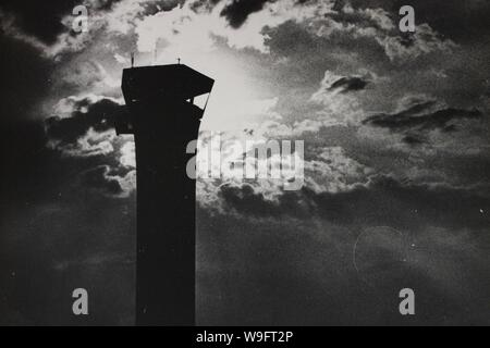 Fine black and white art photography from the 1970s of the old O'Hare airport's control tower.
