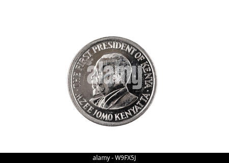 A silver, one Kenyan shilling coin isolated on a white background, close up in macro - Stock Photo