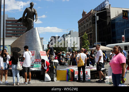 New York City, New York, USA. 11th Aug, 2019. FILE PHOTO: Marchers rally under the statue of the revered Adam Clayton Powell Jr., the first African-American elected from New York to the US Congress who represented Harlem in the US House of Representatives (1945-1971) at the start of the Black Lives Matter (BLM) of Greater New York rally and march on 11th. Aug 2019, in New York City. Credit: G. Ronald Lopez/ZUMA Wire/Alamy Live News - Stock Photo