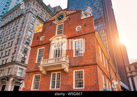 Massachusetts Old State House in Boston historic city center, located close to landmark Beacon Hill and Freedom Trail - Stock Photo