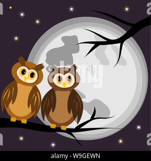 Two owls on a black branch of a tree at night, against a background of the full moon and stars - Stock Photo