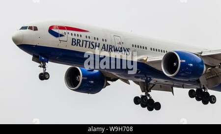 British Airways Boeing 777-2 seen while landing at Toronto Pearson Intl. Airport. - Stock Photo