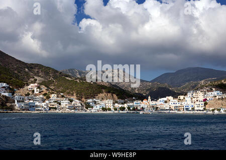 Karpathos island - The seafront of Diafani traditional village in summer day, Aegean sea, Dodecanese Islands, Greece - Stock Photo