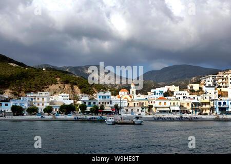 Karpathos island - Diafani, panoramic view from the boat,  Aegean sea, Dodecanese Islands, Greece - Stock Photo
