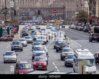 KIEV, UKRAINE-JULY 23, 2019: Heavy traffic at Khreshchatyk street -- main street of Kyiv - Stock Photo