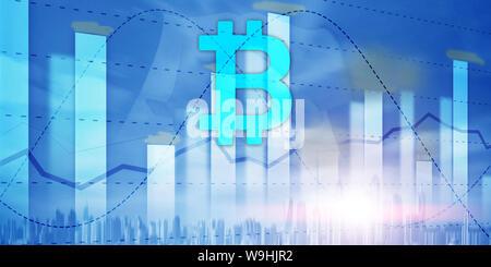 Bitcoin and diagram. Crypto Icon on futuristic background. Trading exchange stock market investment - Stock Photo