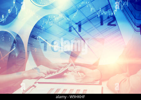 Office hours business times working day concept. Time clocks overlay with business people work together busy with marketing chart. - Stock Photo