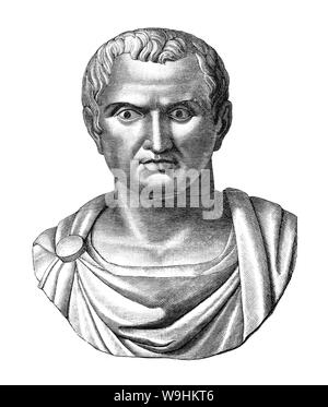 Marcus Antonius (83 BC – 30 BCE), aka Mark Antony, was a Roman politician and general who played a critical role in the transformation of the Roman Republic from an oligarchy into the autocratic Roman Empire. Antony supported Julius Caesar and was appointed administrator of Italy while Caesar eliminated his political opponents. After Caesar's death in 44 BC, Antony joined forces with Marcus Aemilius Lepidus, another of Caesar's generals, and Octavian, Caesar's great-nephew and adopted son, forming a three-man dictatorship known as the Second Triumvirate. - Stock Photo