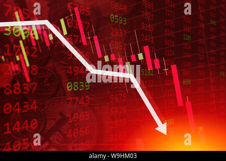 economic crisis stock chart falling down business global money bankruptcy concept - Stock Photo