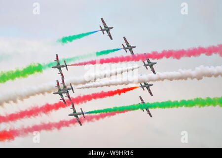 Italian aerobatic team Frecce Tricolori in their Aermacchi MB 339 at the Royal International Air Tattoo RIAT 2019 at RAF Fairford, Gloucestershire, UK - Stock Photo