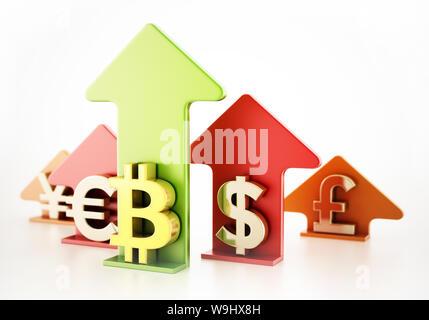Bitcoin, dollar, euro, yen and pound symbols on rising arrows - Stock Photo