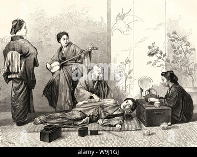 [ 1870s Japan - Japanese Blind Masseur at Work ] —   A blind masseur (あんま) giving a massage to a woman lying on the floor. Massage was a common occupation for the visually impaired. In the back a woman is playing the shamisen. A kiseru pipe is laying on the floor.  Published in the British weekly illustrated newspaper The Graphic on April 30, 1870 (Meiji 3).  19th century vintage newspaper illustration. - Stock Photo