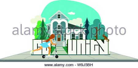 Young girl pushing a scooter on a sidewalk running along a fence in front of a vintage home. The word community is written in the fence & home - Stock Photo