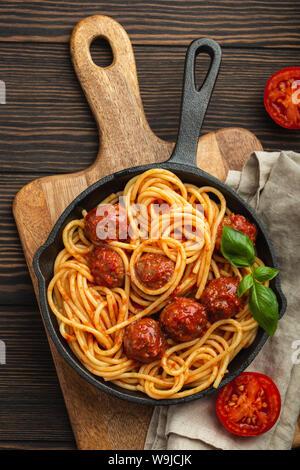 Meatballs pasta in tomato sauce - Stock Photo