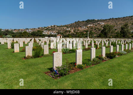 Suda Bay War Cemetery, Crete, Greece. June 2019. Memorial stone to Australian serviceman  of the Australian Imperial Force, Corporal W J Gager. Aged 2 - Stock Photo