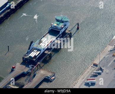 An aerial view of Isle of Man ferries loading at Heysham harbour, North West England, UK - Stock Photo