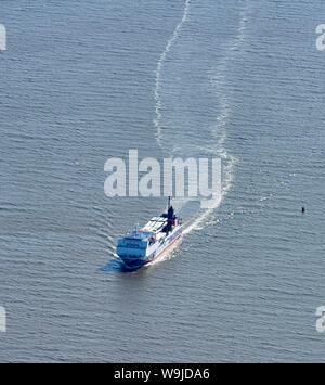An aerial view of Isle of Man ferries approaching Heysham harbour, North West England, UK - Stock Photo
