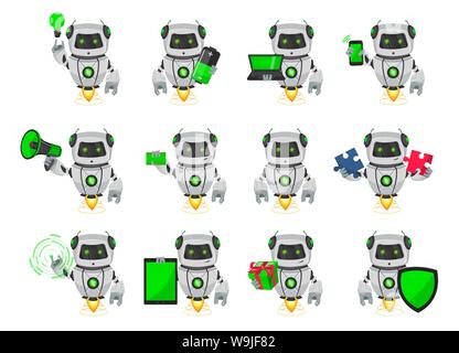 Robot with artificial intelligence, bot. Funny cartoon character, set of twelve poses. Humanoid cybernetic organism. Future concept. Vector Illustrati - Stock Photo