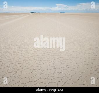 Drone photo of the salt flats of Uyuni in Bolivia - Stock Photo