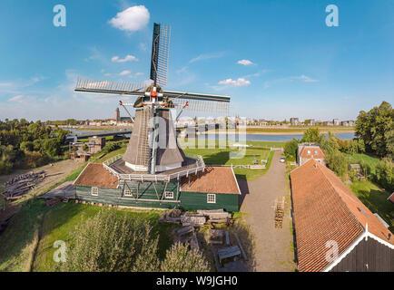 Saw mill called De Bolwerksmolen, Deventer,   Overijssel, , Netherlands, 30071259 *** Local Caption *** windmill, field,  meadow, water, summer, aeria - Stock Photo
