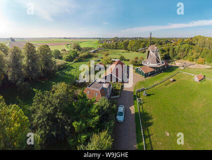 Saw mill called De Bolwerksmolen, Deventer,   Overijssel, , Netherlands, 30071267 *** Local Caption *** windmill, field, meadow, trees, summer, aerial - Stock Photo
