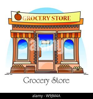 Grocery shop or natural goods store, food market - Stock Photo