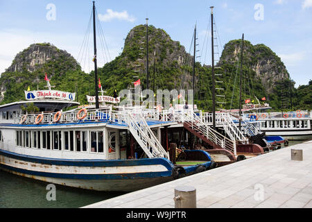 Tourist boats moored up for visit to Hang Dau Go caves grottoes in Halong Bay in South China Sea. Dau Go Island, Quang Ninh, Vietnam, Asia - Stock Photo