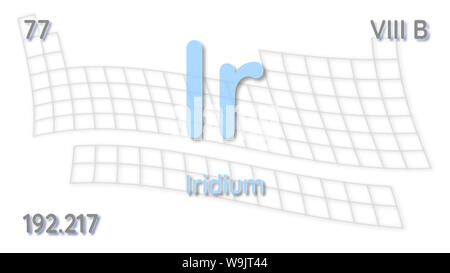 Iridium chemical element  atomic data and symbol - table of elements - Stock Photo