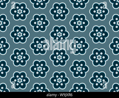 Seamless geometric pattern. Shaped flowers, stars in matt and dark blue colors. - Stock Photo